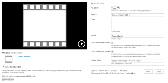 Stránka vlastností videa