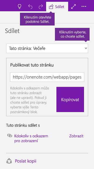 Snímek obrazovky s postupem sdílení jedné stránky ve OneNotu