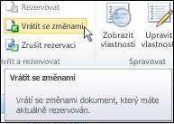 Pás karet služby SharePoint s kurzorem ukazujícím na ikonu Vrátit se změnami