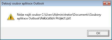 Dialogové okno upozorňující na chybějící datový soubor aplikace Outlook (PST)