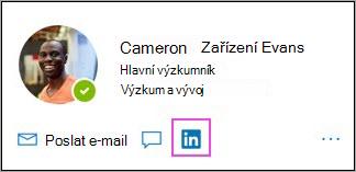 Zobrazení ikony LinkedInu na kartě profilu