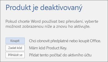Snímek obrazovky zobrazující chybovou zprávu o deaktivaci produktu