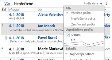 Seznam filtrů, které jsou k dispozici k řazení zpráv