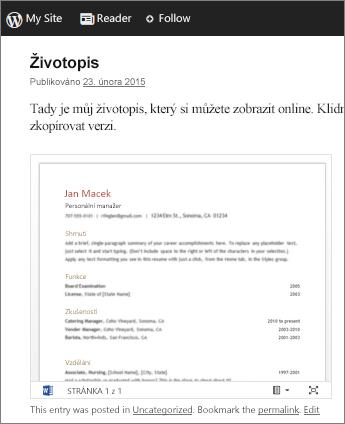 Wordový dokument vložený do příspěvku blogu