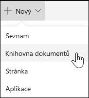 Vytvoření knihovny dokumentů služby Sharepoint