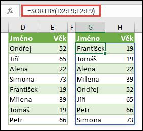 Použijte funkci SORTBY k seřazení oblasti. V tomto případě jsme použili =SORTBY(D2:E9;E2:E9), abychom seřadili jména lidí podle jejich věku ve vzestupném pořadí.