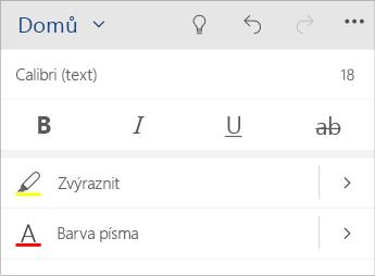 Snímek obrazovky nabídky pro formátování textu ve Wordu Mobile