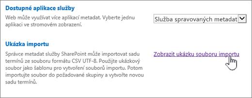 zobrazení ukázkový soubor importu