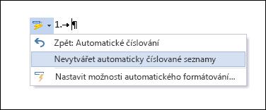 Možnosti číslování v automatických opravách