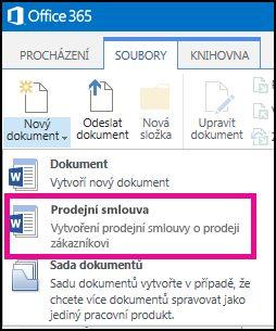 Rozevírací seznam Nový dokument s typem obsahu Kupní smlouva.