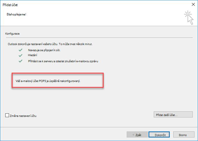 Outlook – přidání účtu jako POP