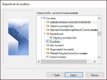 Export ze složky duplicitní položky.