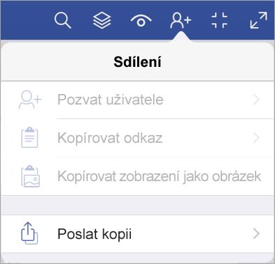 Odeslání kopie souboru ve Visio Vieweru pro iPad