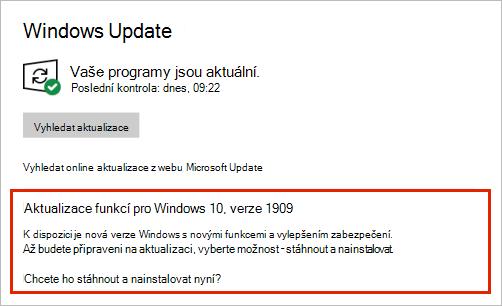 Windows Update zobrazující umístění aktualizace funkcí
