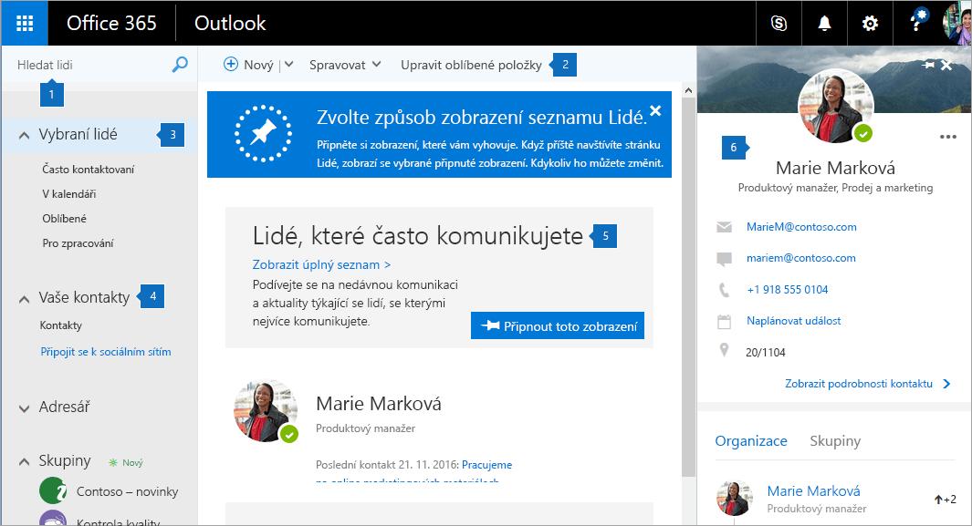 Snímek obrazovky se stránkou Lidé