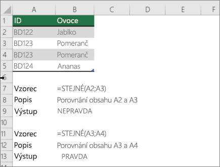 Příklad použití funkce stejné a umožňuje porovnávat jedné buňky do druhého