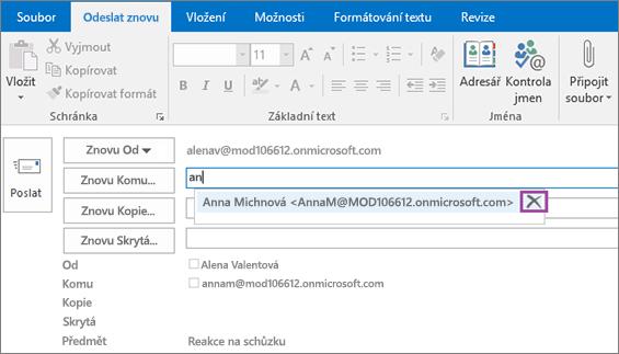 Snímek obrazovky s možností opětovného poslání e-mailové zprávy V poli Znovu Komu nabízí funkce automatického dokončování e-mailovou adresu příjemce podle prvních zadaných písmen jména příjemce