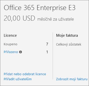 Odkaz Přidat nebo odebrat licence v Centru pro správu Office 365