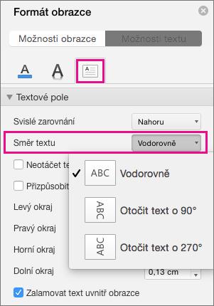 Směr textu je zvýrazněná v podokně formát obrazce.