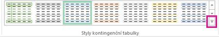 Tlačítko Další v galerii Styly kontingenční tabulky