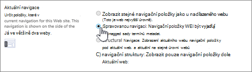 Pokud chcete aktuální oddíl navigace s vybraným spravovanou navigaci