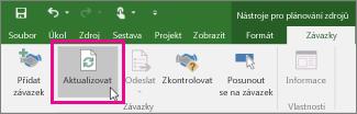 Tlačítko Aktualizovat na kartě Závazky