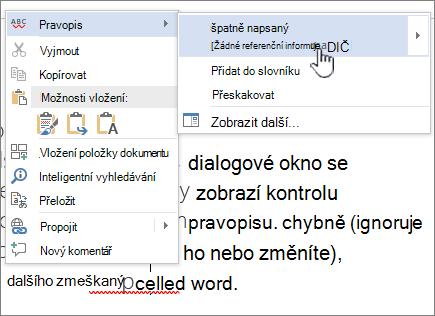 Použití klikněte pravým tlačítkem myši nabídky pro kontrolu pravopisu
