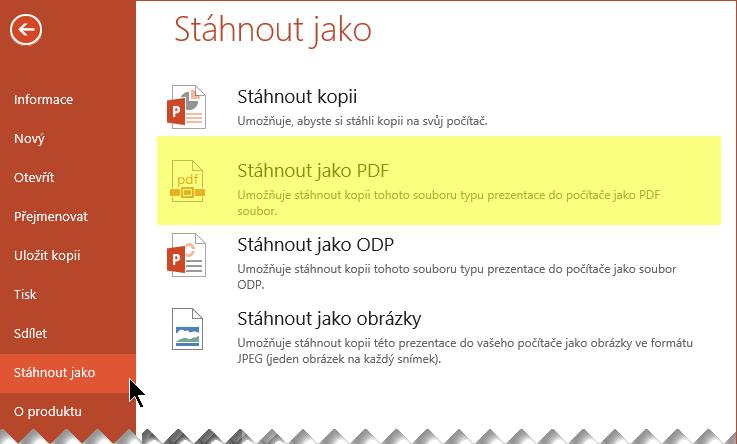 Vyberte Soubor > Stáhnout jako > Stáhnout jako PDF.