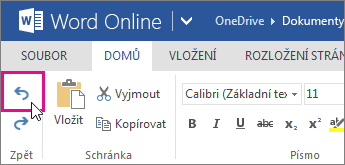 Vrácení změny ve Wordu Online zpět
