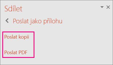 Zobrazuje odkaz Poslat PDF v PowerPointu 2016.