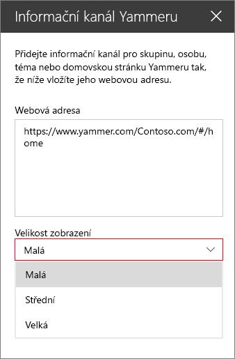 Pole pro adresu webového informačního kanálu yammeru