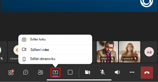 Sdílení fotky, videa nebo obrazovky