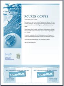 Leták s vystřižených kupóny vytvořené v aplikaci Microsoft Office Publisher 2007