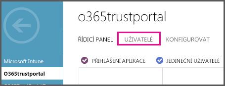 Zobrazuje nabídku Azure AD se zvýrazněním uživatelů.