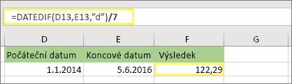 """= (DATEDIF (D13, E13, """"d"""")/7) a výsledek: 122,29"""