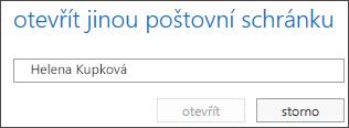 Dialog otevření jiné poštovní schránky v Outlook Web Appu