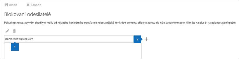 Snímek obrazovky stránky Blokovaní odesílatelé.