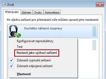 Nastavit zařízení jako výchozí ve Windows