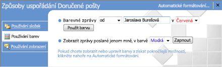 Uspořádání podokno v aplikaci Microsoft Office Outlook 2007
