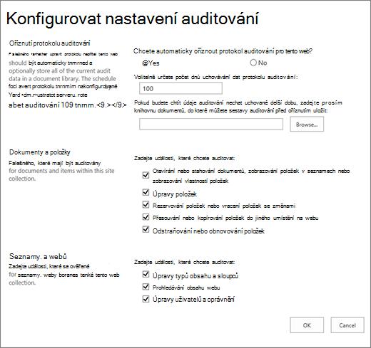 Konfigurovat nastavení auditování v dialogovém okně Nastavení webu