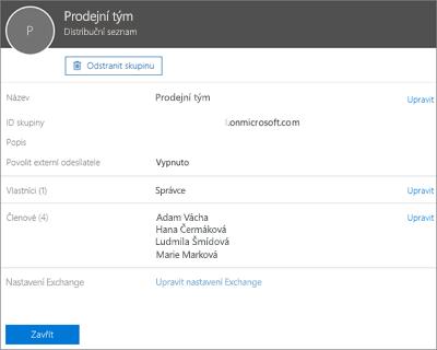 Snímek obrazovky: Přidání kontaktu do distribučního seznamu