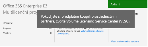 Odkaz na Volume Licensing Service Center (VLSC)