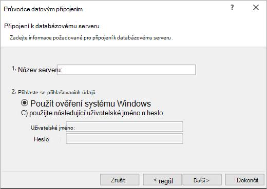Obrazovka Průvodce datovým připojením 1