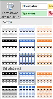 Styly v Galerii stylů Excelu zobrazené pomocí možnosti Formátovat jako tabulku