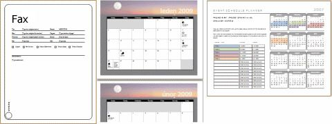 Examples of templates (fax cover sheet, calendar, event schedule)