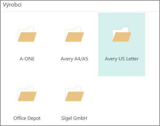 Šablony pohlednic pro konkrétní výrobce pohlednic, například Avery