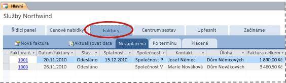 Karta Faktury v šabloně databáze Služby