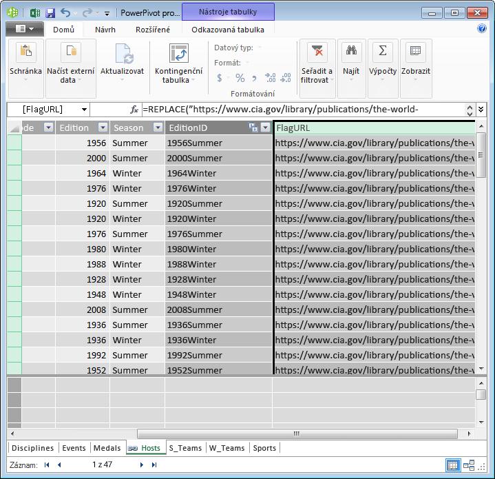 Vytvoření pole URL pomocí doplňku Power Pivot a vzorce DAX