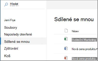 Snímek obrazovky sdílené se mnou zobrazit na Onedrivu pro firmy