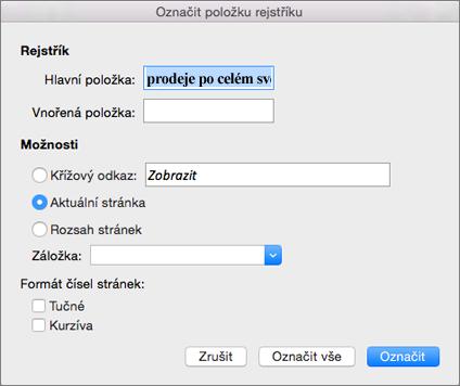 Možnosti dialogového okna Označit položku rejstříku